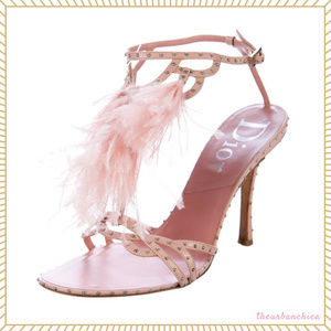 Christian Dior Ostrich Feather Pink Stud Heel